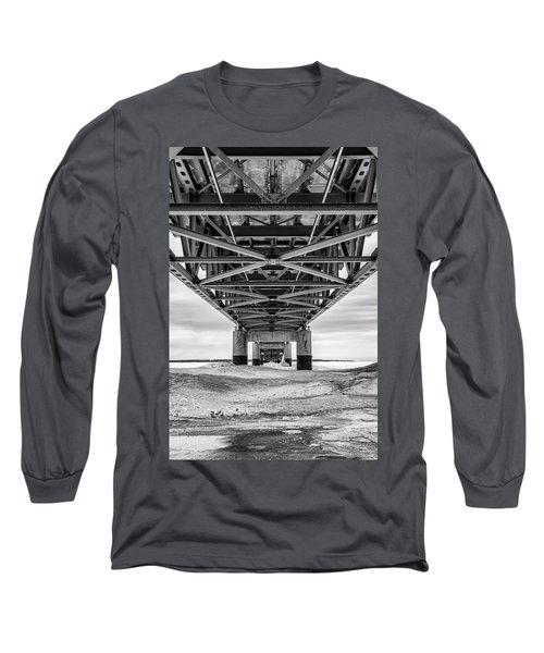 Long Sleeve T-Shirt featuring the photograph Black And White Mackinac Bridge Winter by John McGraw