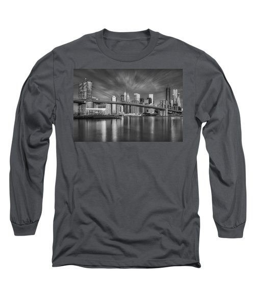 Brooklyn Bridge From Dumbo Long Sleeve T-Shirt by Susan Candelario