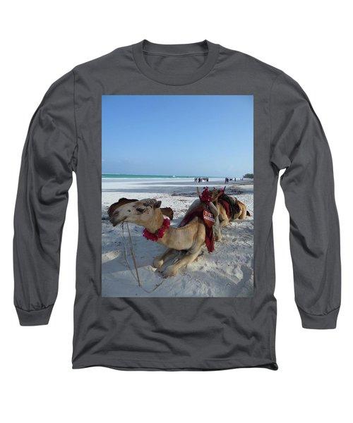 Camel On Beach Kenya Wedding Long Sleeve T-Shirt