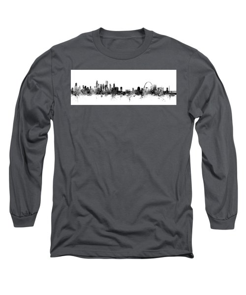 Chicago And St Louis Skyline Mashup Long Sleeve T-Shirt by Michael Tompsett