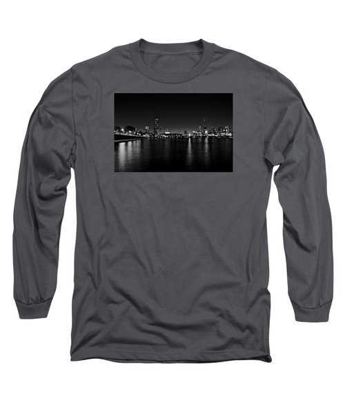 Long Sleeve T-Shirt featuring the photograph Chicago-skyline 2 Bw by Richard Zentner