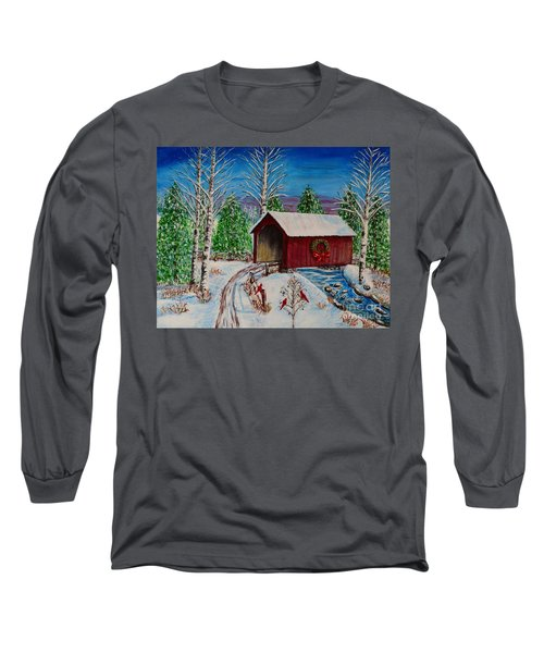Long Sleeve T-Shirt featuring the painting Christmas Bridge by Melvin Turner