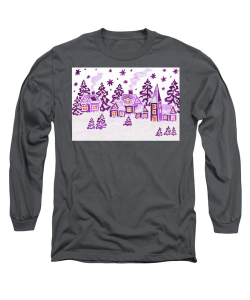 Christmas Picture In Raspberry Pink Colours Long Sleeve T-Shirt