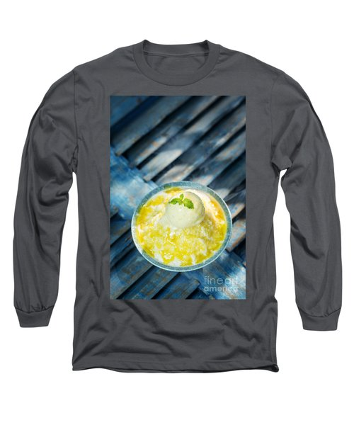 Coconut Sorbet With Mango Sauce And Vanilla Ice Cream Long Sleeve T-Shirt
