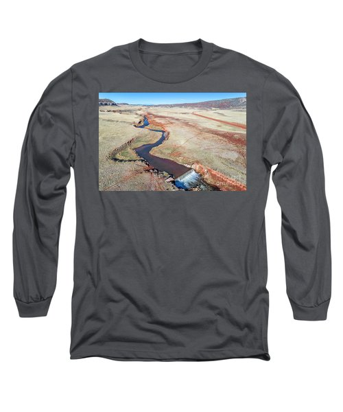 creek at  Colorado foothills - aerial view Long Sleeve T-Shirt