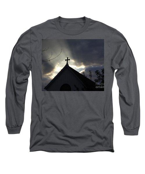 Cross In Sun Rays Long Sleeve T-Shirt by Debra Crank