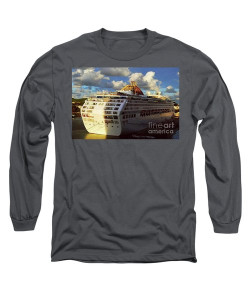 Long Sleeve T-Shirt featuring the photograph Cruise Ship In Port by Gary Wonning