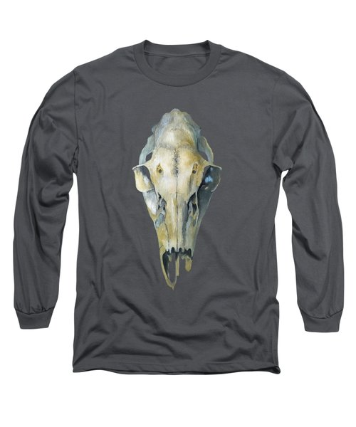 Deer Skull With Aura Long Sleeve T-Shirt by Catherine Twomey
