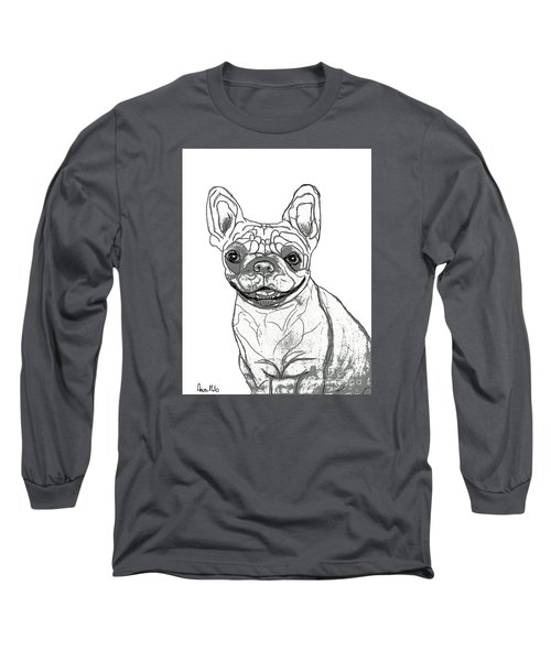 Long Sleeve T-Shirt featuring the drawing Dog Sketch In Charcoal 7 by Ania M Milo