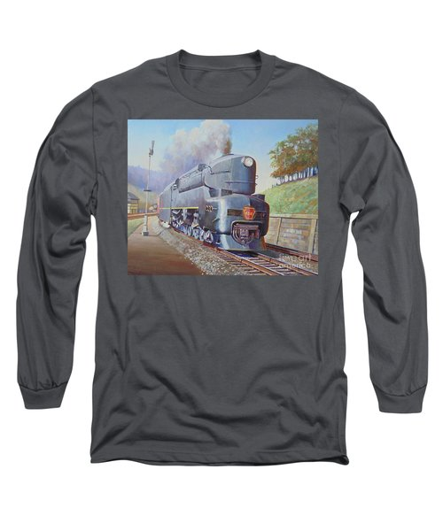 Long Sleeve T-Shirt featuring the painting Duplex Express by Mike Jeffries