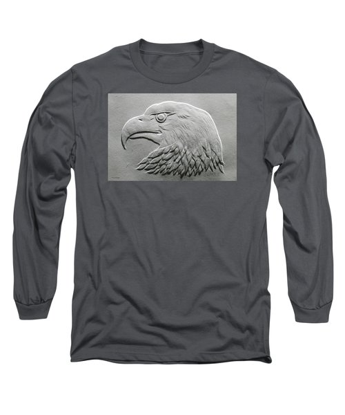 Long Sleeve T-Shirt featuring the relief Eagle Head Relief Drawing by Suhas Tavkar