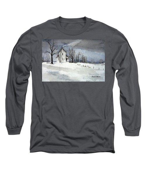 Farmhouse In Winter Long Sleeve T-Shirt