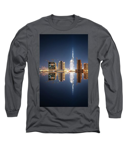 Fascinating Reflection Of Tallest Skyscrapers In Business Bay District During Calm Night. Dubai, United Arab Emirates. Long Sleeve T-Shirt
