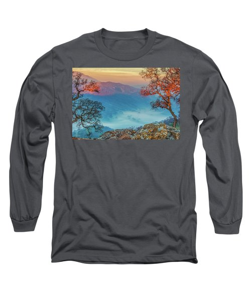Fog In The Valley Long Sleeve T-Shirt by Marc Crumpler
