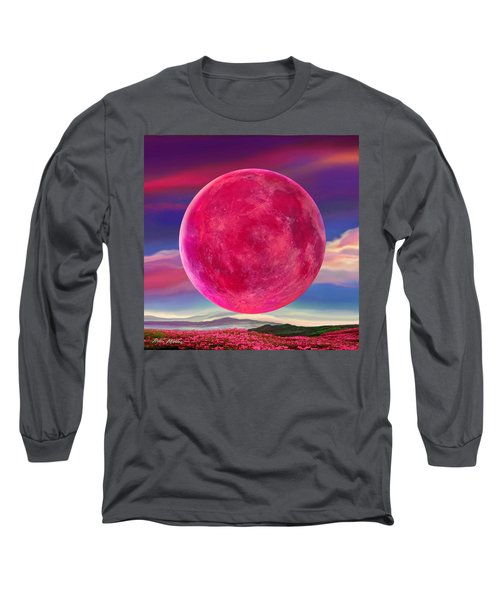 Long Sleeve T-Shirt featuring the digital art Full Pink Moon by Robin Moline