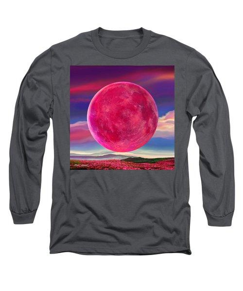 Full Pink Moon Long Sleeve T-Shirt