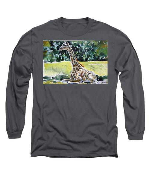 Long Sleeve T-Shirt featuring the painting Giraffe by Kovacs Anna Brigitta