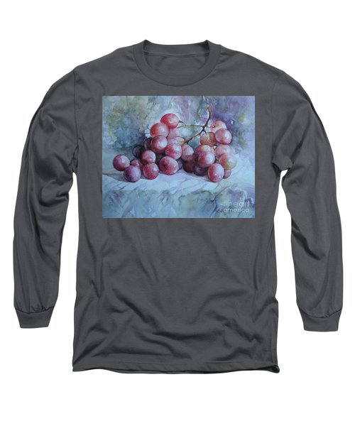 Long Sleeve T-Shirt featuring the painting Grapes... by Elena Oleniuc