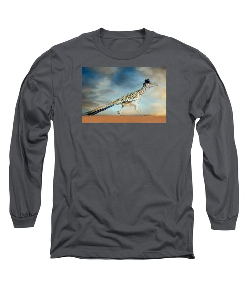 Long Sleeve T-Shirt featuring the painting Greater Roadrunner by Barbara Manis