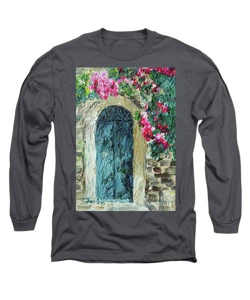 Green Italian Door With Flowers Long Sleeve T-Shirt