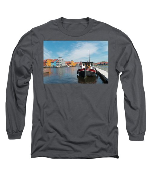 Harbor In Groningen Long Sleeve T-Shirt by Hans Engbers
