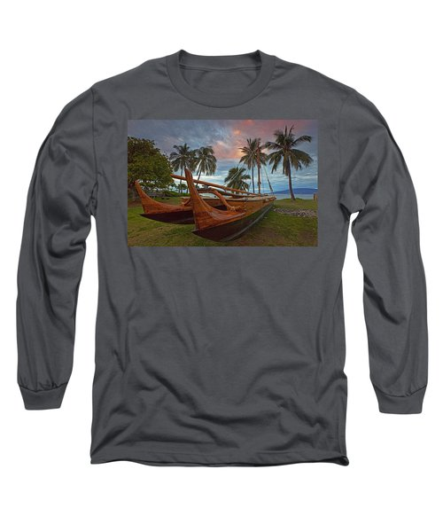 Hawaiian Sailing Canoe Long Sleeve T-Shirt by James Roemmling
