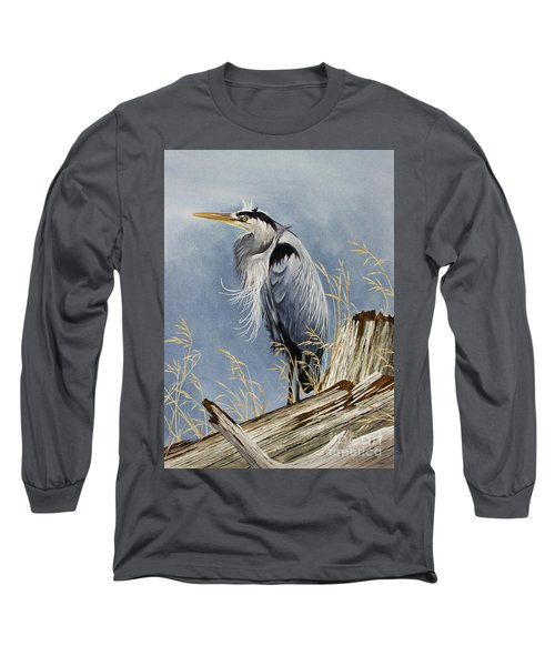 Long Sleeve T-Shirt featuring the painting Herons Windswept Shore by James Williamson