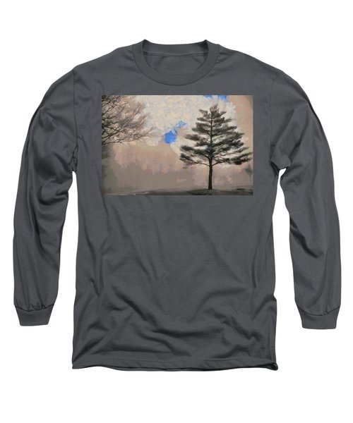 Long Sleeve T-Shirt featuring the mixed media Hickory by Trish Tritz