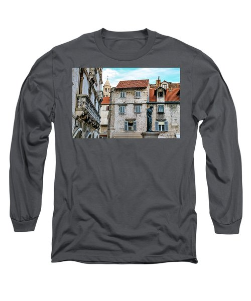 Houses And Cathedral Of Saint Domnius, Dujam, Duje, Bell Tower Old Town, Split, Croatia Long Sleeve T-Shirt by Elenarts - Elena Duvernay photo