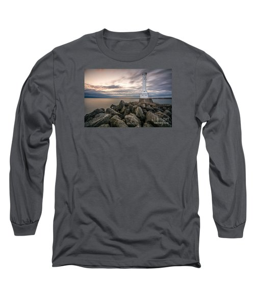 Huron Harbor Lighthouse Long Sleeve T-Shirt by James Dean