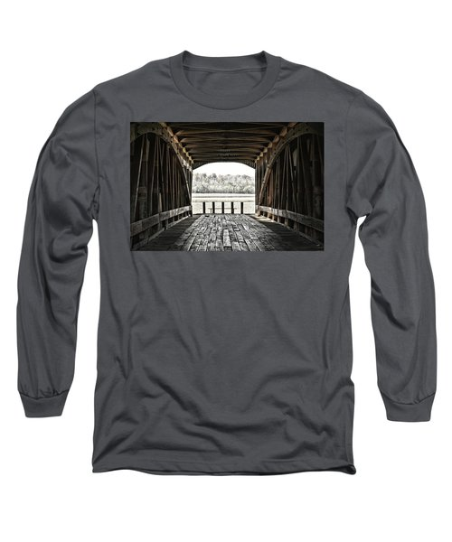 Inside The Covered Bridge Long Sleeve T-Shirt by Joanne Coyle