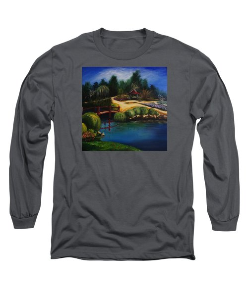 Long Sleeve T-Shirt featuring the painting Japanese Gardens - Original Sold by Therese Alcorn