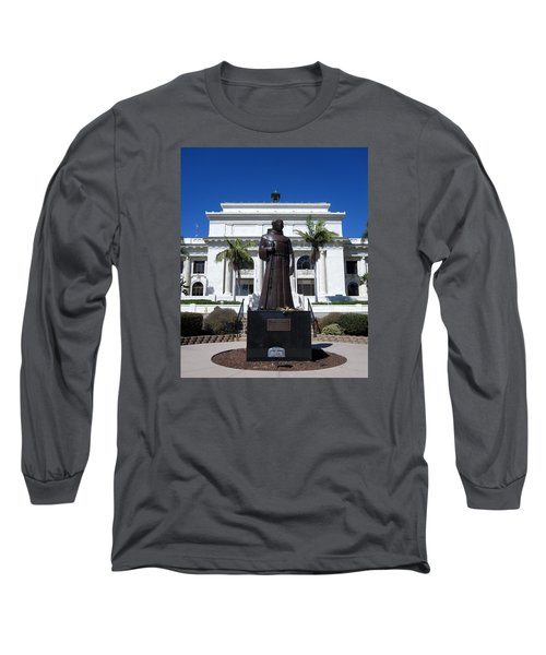 Long Sleeve T-Shirt featuring the photograph  Serra At City Hall by Mary Ellen Frazee