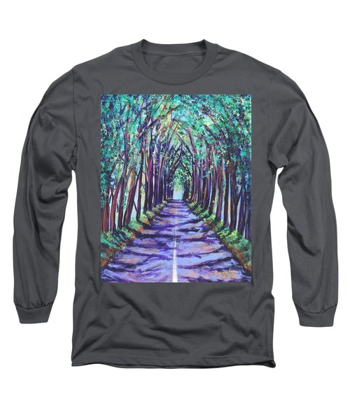 Long Sleeve T-Shirt featuring the painting Kauai Tree Tunnel by Marionette Taboniar