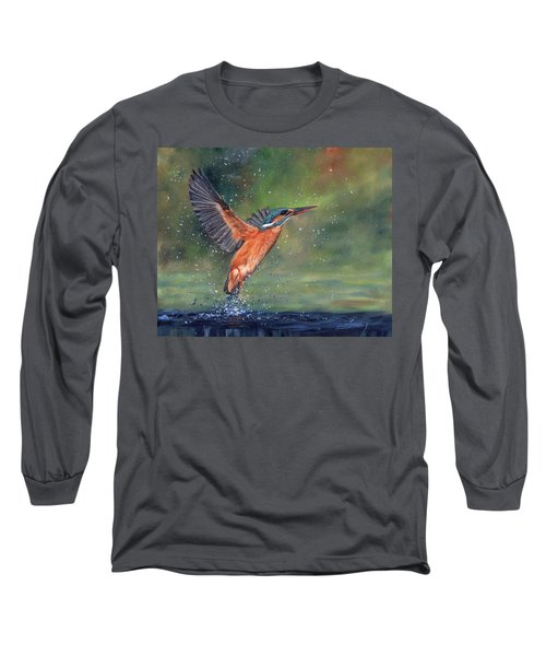 Long Sleeve T-Shirt featuring the painting Kingfisher by David Stribbling