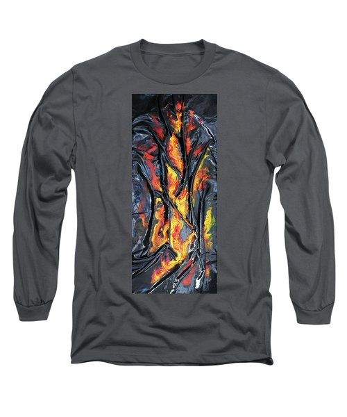 Long Sleeve T-Shirt featuring the mixed media Leather And Flames by Angela Stout