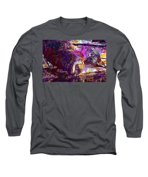 Long Sleeve T-Shirt featuring the digital art Lion Cat Zoo Male Big Cat Africa  by PixBreak Art
