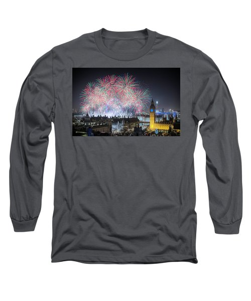 London New Year Fireworks Display Long Sleeve T-Shirt