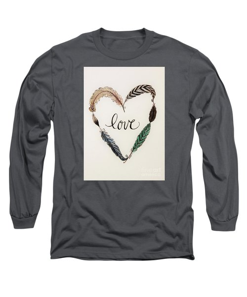 Feathers Of Love Long Sleeve T-Shirt by Elizabeth Robinette Tyndall