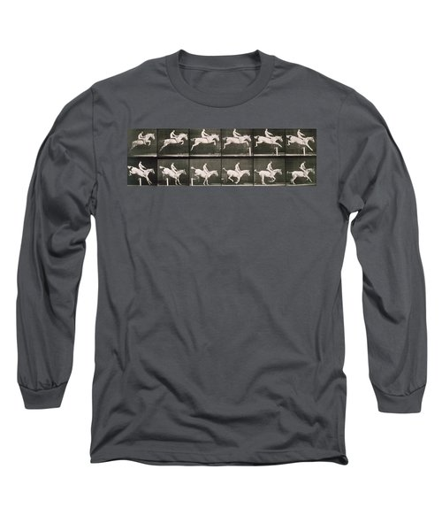 Man And Horse Jumping A Fence Long Sleeve T-Shirt