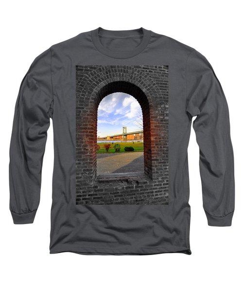 Manhattan Bridge Framed Long Sleeve T-Shirt by Mark Gilman