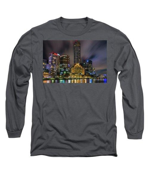 Melbourne City Skyline Over Yarra River  Long Sleeve T-Shirt