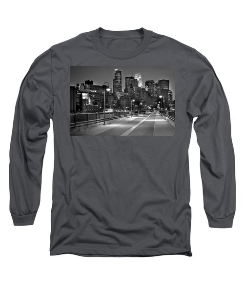 Minneapolis Skyline From Stone Arch Bridge Long Sleeve T-Shirt by Jon Holiday
