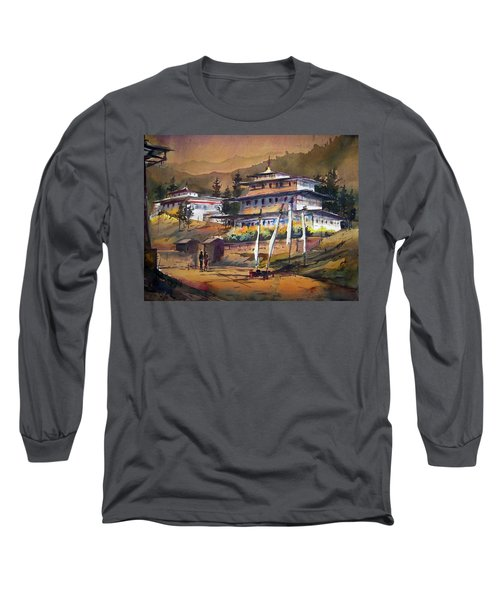 Long Sleeve T-Shirt featuring the painting Monastery In Himalaya Mountain by Samiran Sarkstery in Himalaya Mountainar