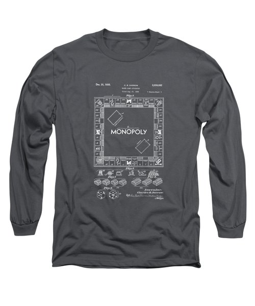 Monopoly Original Patent Art Drawing T-shirt Long Sleeve T-Shirt by Edward Fielding