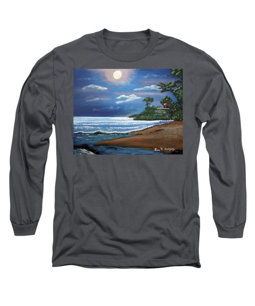Moonlight In Rincon II Long Sleeve T-Shirt by Luis F Rodriguez