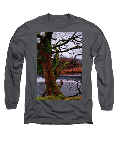 Mossy Tree Leaning Over The Smooth River Wharfe Long Sleeve T-Shirt