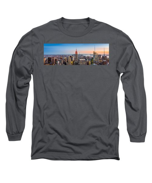 New York Skyline Panorama Long Sleeve T-Shirt