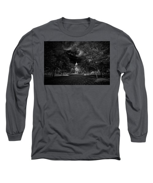 Long Sleeve T-Shirt featuring the photograph Notre Dame University Black White by David Haskett