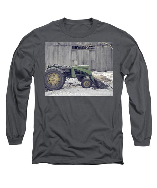 Old Tractor By The Grey Barn Long Sleeve T-Shirt